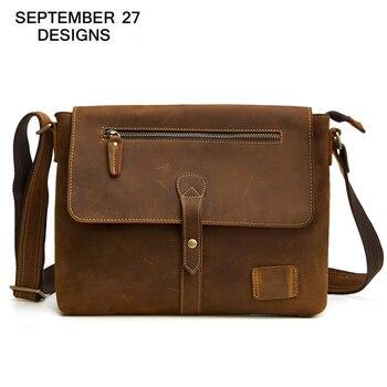 Men Messenger bags Genuine Leather Large Capacity Retro Men's Handbags Crazy Horse Leather Vintage Male Shoulder Crossbody Bags