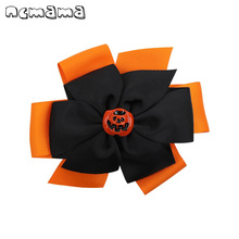 2Pcs/lot Halloween Hair Bows for Girls Clips 5 Double Layered Ribbon Bowknot Pumpkin Hairpins Party Accessories
