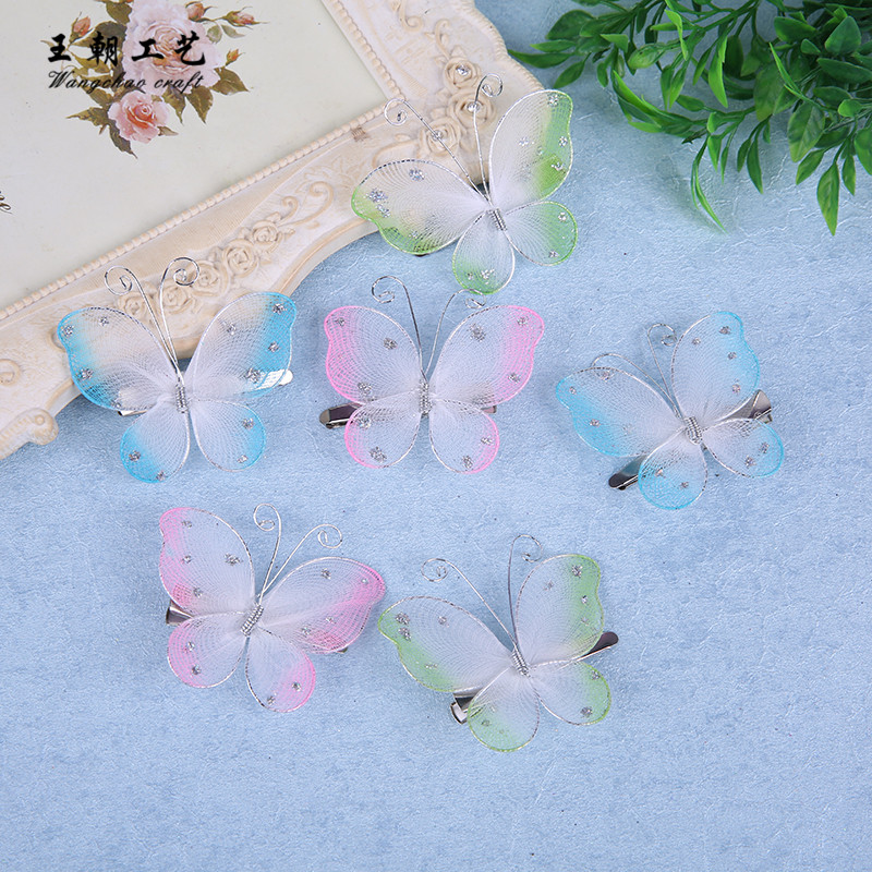 12 pcs/lot Glitter nylon butterfly decoration Clips butterflies wedding birthday Party DIY mariage baby shower 3 colors 5.5cm