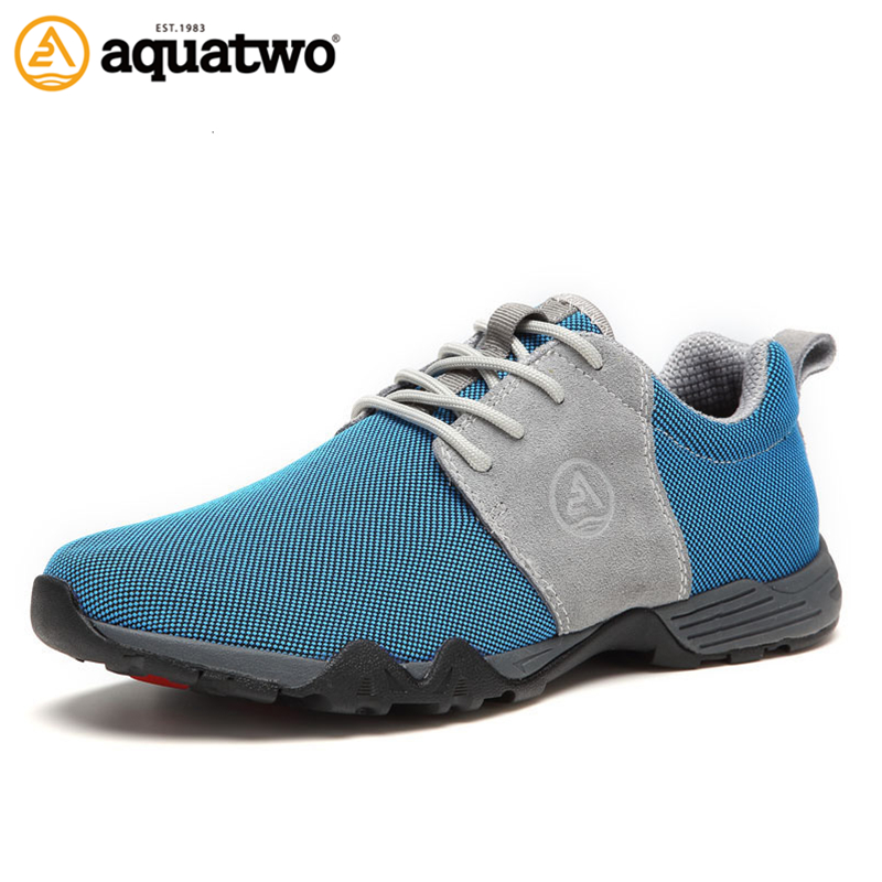 AQUA TWO Outdoor Men Sports Walking Shoes Air mesh Breathable Lace-up Sneakers Durable A ...