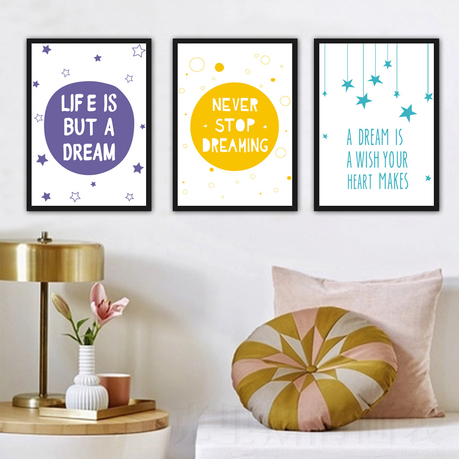Girl Play Room Bedroom Wall Poster Size A4 print FOLLOW YOUR DREAMS  Quote Boy