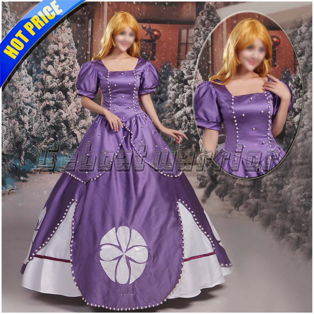 Movie Sofia princess dressSofia the First Princess sophia purple  Cosplay Costume for Adult Custom made