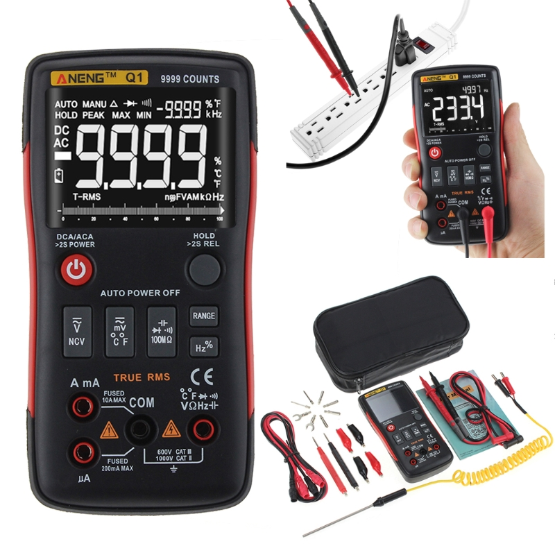 Q1 True-RMS Digital Multimeter Auto Button 9999 Counts With Analog Bar Graph AC/DC Voltage Ammeter Current Ohm Transistor Tester