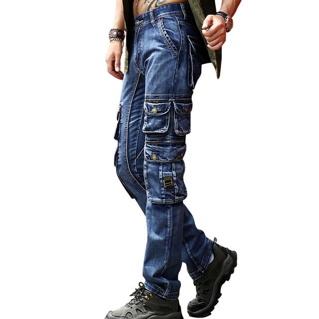 ABOORUN Men's Brand Cargo Jeans Multi Pockets Tactical Denim Pants High Quality Male Outdoor Casual Jeans x1647