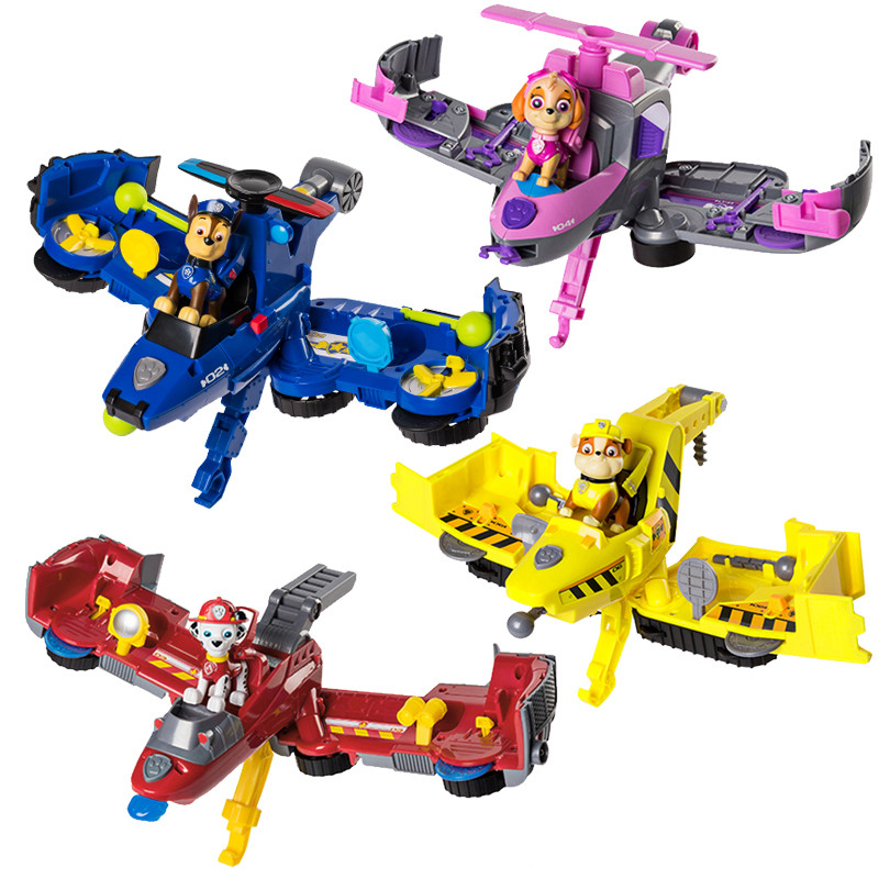 Paw Patrol 2-In-1 Flip Deformation Aircraft Toy The Vehicle Can Converted From A Bulldozer To A Jet Toys PVC Action Figure Model