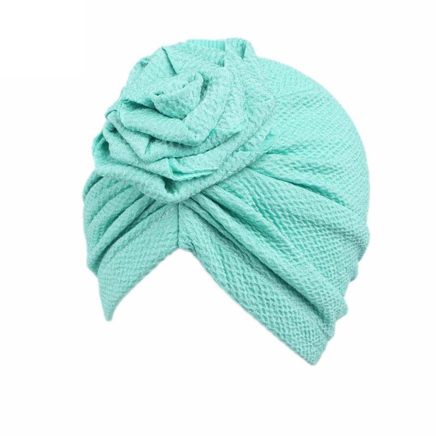 TELOTUNY 2018 kids baby girls headband baby hair accessories Children Baby Girls Boho Hat Beanie Scarf Turban Head Wrap Cap m5 leaf print turban headband