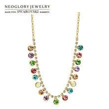 Neoglory австрийский кристалл& Auden Стразы Длинная подвеска ожерелье трендовые цветные круглые бусины светильник желтое золото цвет подарок