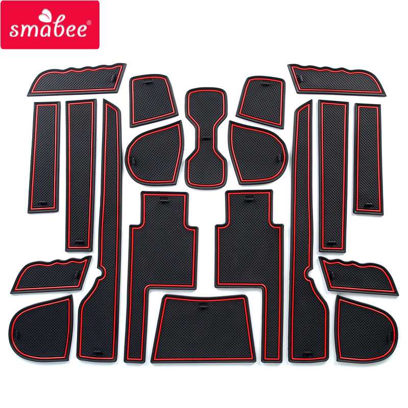 smabee Gate slot pad for SSANGYONG TIVOLI 2015-2018 Interior Door Pad/Cup Non-slip mats red white(China)