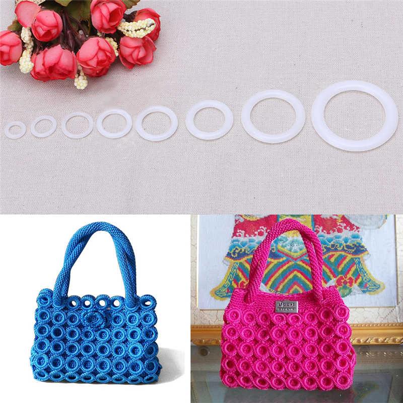 Домашний Пластиковый DIY круговой крюк для вязания крючком, инструмент для рукоделия, аксессуар для сумочки, автомобильное сиденье, ручная сумка, Материал пластикового кольца, крюк