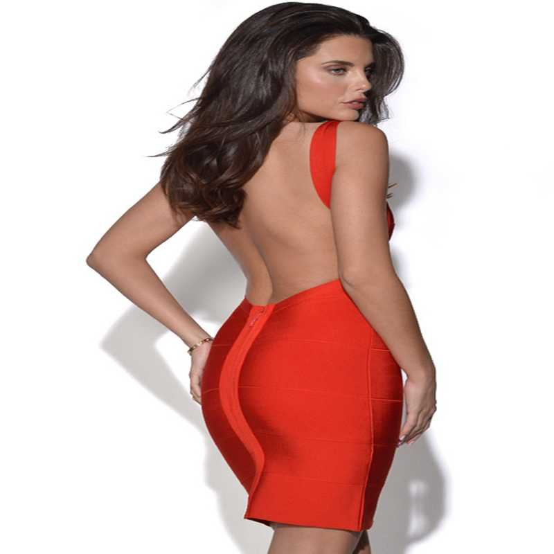 Sexy Backless Zomer Jurk Vrouwen Potlood Club Party Wear Bandage Jurk Schede Mini Bodycon Jurken Vestidos Wit Geel Verano