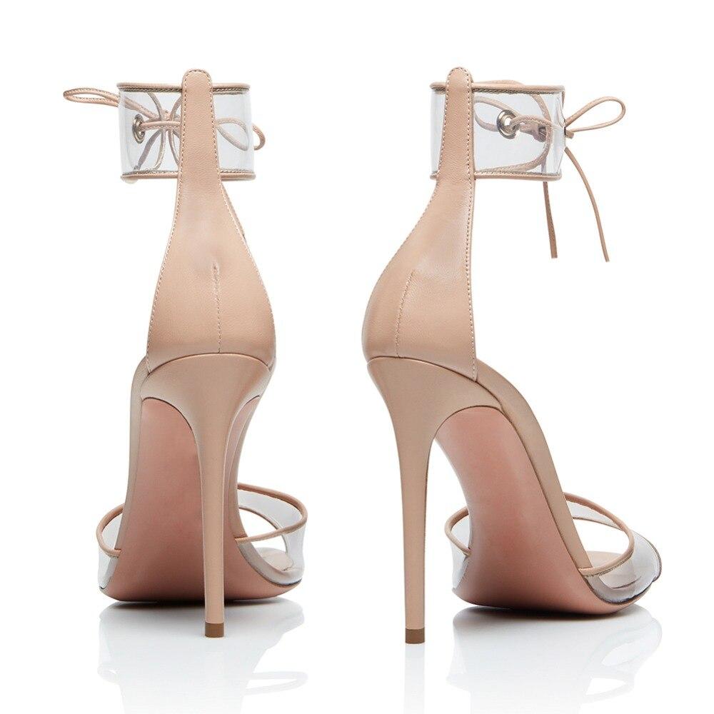 Verano Sandalias 4 Tobillo Tacón Transparente Gran Alto Tacones Abierta 17 Zapatos Tamaño Mujer El Punta 2018 Sexy De Pvc YZq7Ep