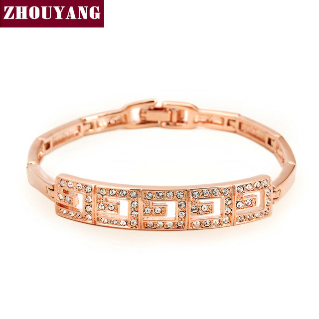 Top Quality Rose Gold Color Bracelet Jewelry Made with Genuine Austrian Crystals CZ Wholesale ZYH034 ZYH033