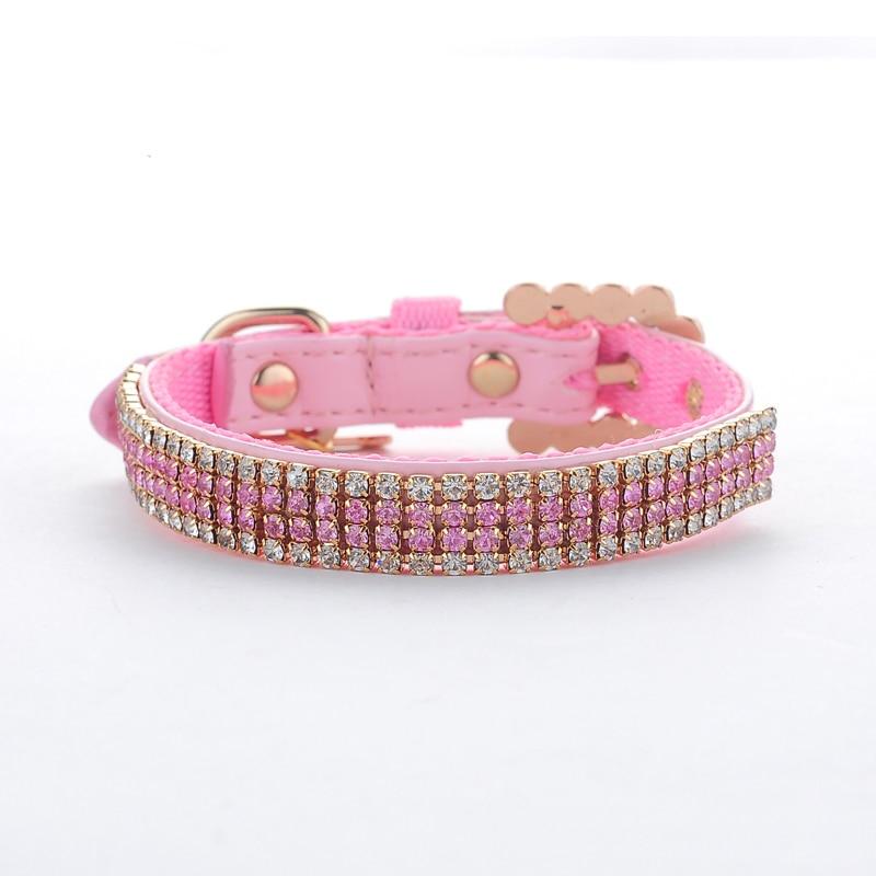 Pet Collar Hot Bling Rhinestone PU Leather Complex Nylon Crystal Diamond studded Puppy Pet Dog Collar Size S M L Pink Supplies 2
