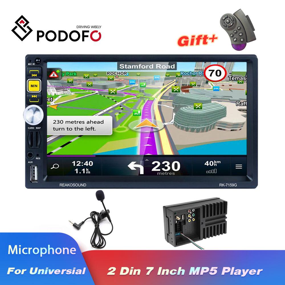 Podofo 2 Din autoradio stéréo multimédia lecteur vidéo universel auto stéréo GPS Navigation 7