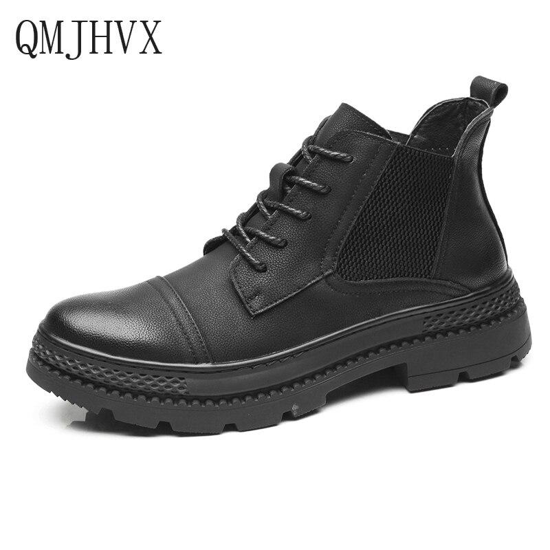 QMJHVX Fashion Men's Casual leather Boots vintage flats Martin Boots Men plus velvet warm High Top Motorcycle Man Snow Boots