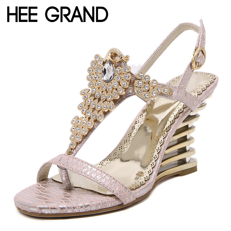 HEE GRAND 2017 Wedges Gladiator Sandals Bling Crystal Flip Flops Sexy High Heels Gold Casual Platform Shoes Woman XWZ3463 hee grand 2017 gladiator sandals gold silver shoes woman summer platform wedges glitters high heels casual women shoes xwz4018