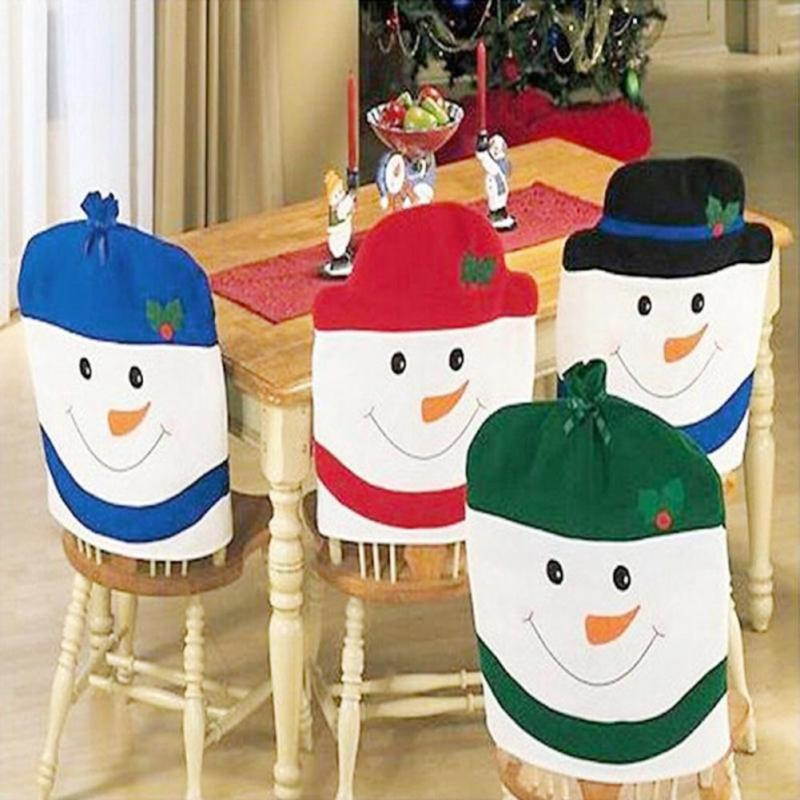 Lovely Snowman Christmas Dining Room Chair Cover Seat Back Coat Home Party Decor Xmas Table