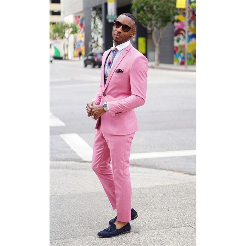 Por encargo Rosa slim fit hombres traje novio Esmoquin formal ...