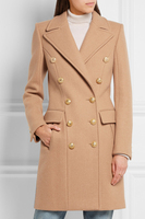 Custom Autumn Winter Coats Fashion Classic Double Breasted Uniform Wind Lapel Slim Cashmere Long Trench Coats All match Outwear