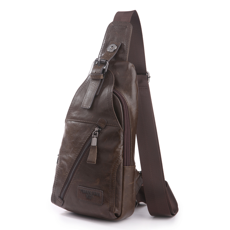 Men Genuine Leather Cowhide Travel Sling Messenger Chest Bag Back Pack Famous Brand Single Shoulder Crossbody Bags High Quality