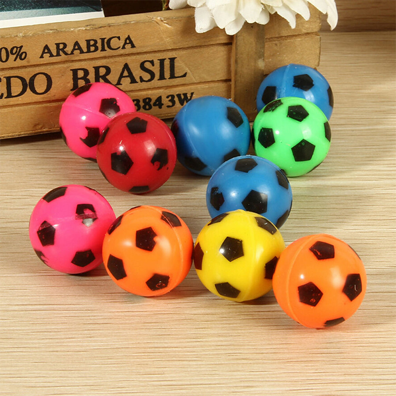 JIMMY BEAR 10 Pcs/Set Bouncing Football Ball Rubber Elastic Jumping Soccer Kid Outdoor Toys