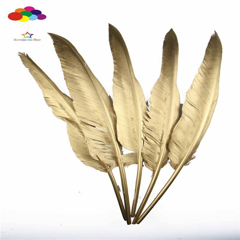 Wholesale 10 Taiwan humpback feathers 35-40CM (14-16 inch) gold jewelry DIY decorative buckle feathers accessories