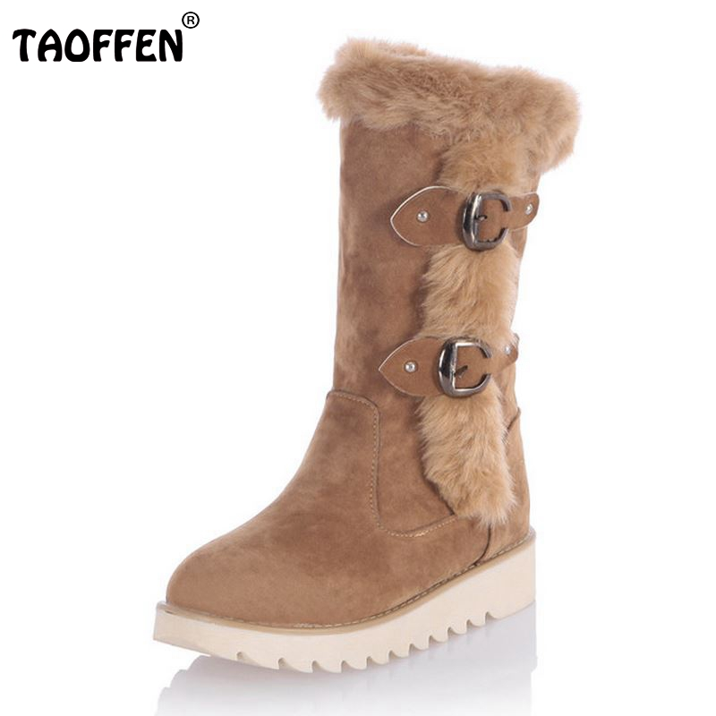 TAOFFEN Size 31-43 Gladiator Snow Boots Women Flats Half Short Boot Ladies Warm Plush Winter Mid Calf Boots Footwear Shoes Woman купить