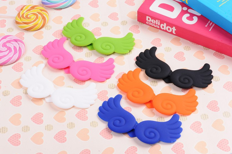 Cute Angel Wing Stand Winder cable manager Silicone Holder Case iphone 5 5S Samsung S4 Phones - ShenZhen QMT Techonlogy Co., Ltd store