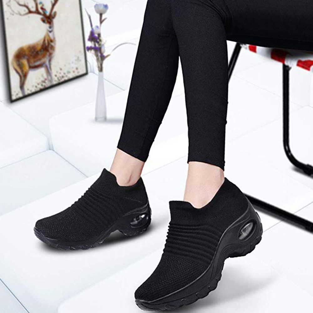 Women Walking Shoes Running  Mesh Shoes Fashion Platform Slip-On Sneaker Air Cushion Gym Modern Dance Shoes Men sneakers women