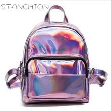 Женские Рюкзак Лазерная Рюкзачков для девочек школьная сумка женская серебряная Кожа PU Рюкзак Большой Средний Маленький Размеры