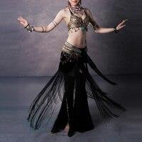 Women Bra+Belt+Pants Dancing Suit Tassels Metal Decor Vintage Belly Dance Outfits Set QL Sale