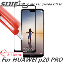 2pcs Full cover Tempered Glass For HUAWEI p20 PRO P20PRO 5.8 inch screen protective smartphone case 9H toughened black clear