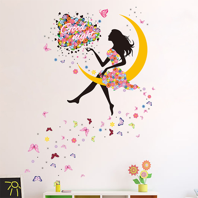Good Night Moon Fairy DIY Wall Sticker Decor Princess Girl Art Decals For Kids Rooms