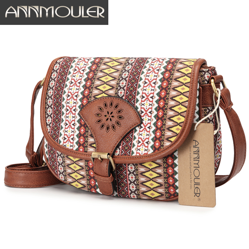 Annmouler Brand Design Women Shoulder Bag Vintage Hollow Out Crossbody Bag Pu Leather Small Bag Bohemian Style Messenger BagsAnnmouler Brand Design Women Shoulder Bag Vintage Hollow Out Crossbody Bag Pu Leather Small Bag Bohemian Style Messenger Bags