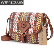 Annmouler Brand Design Women Shoulder Bag Vintage Hollow Out Crossbody Bag Pu Leather Small Bag Bohemian Style Messenger Bags