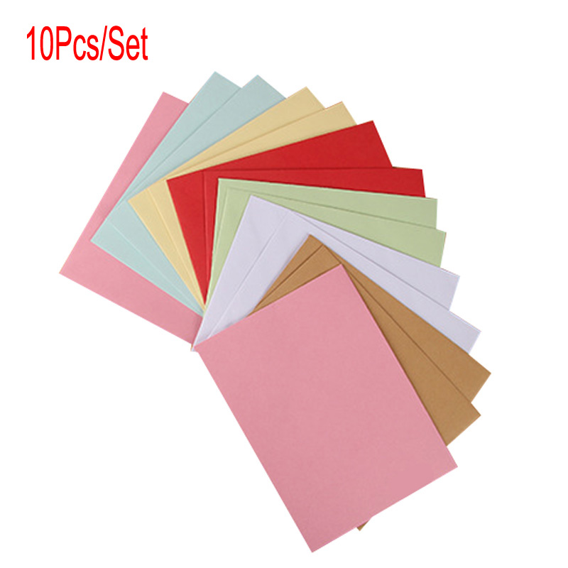10Pcs/Set 11.4CMX16.2CM 7Colors Paper Envelopes Vintage Retro Style Envelope For Office School Card Scrapbooking Gift