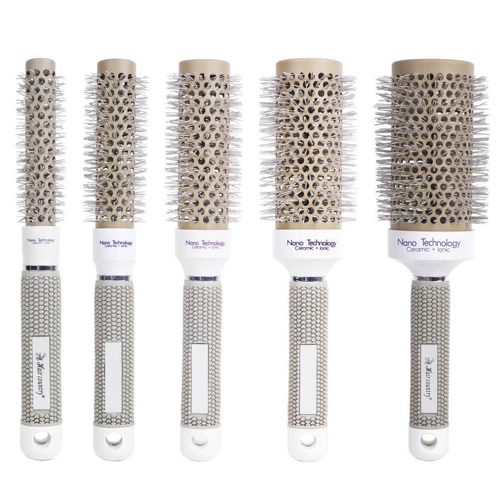 ФОТО New Ceramic Ionic Round Comb Barber Hair Dressing Salon Styling Tools Brushes 6 Sizes Barrel Hairbrush 1Pcs