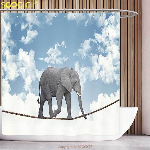 Cool Shower Curtain Elephants Decor Classic African Elephant Walking ...