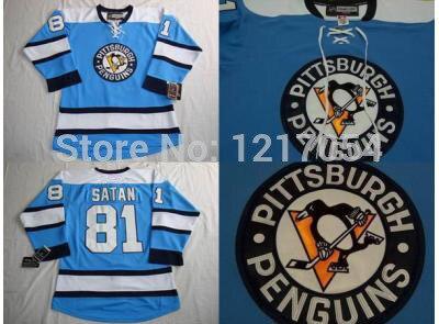new style c6124 30755 Miroslav Satan Jersey Pittsburgh Penguins Jersey #81 Satan Third Jersey  Blue Size S-3XL Free Shipping