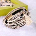 Rainbery 2017 Hot Sale Leather Wrap Bracelet Crystal Tassel Leather Bracelet Multilayer Bracelets for Women Men