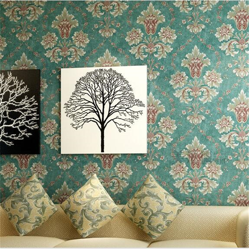 beibehang Continental 3D embossed non-woven wallpaper papel de parede Damascus wallpaper living room bedroom wallpaper backdrop