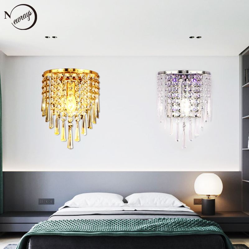 Modern plated crystal wall lamp E14 LED 220V novelty Luxury Lustre wall lights for living room bedroom restaurant hallway hotelModern plated crystal wall lamp E14 LED 220V novelty Luxury Lustre wall lights for living room bedroom restaurant hallway hotel