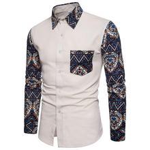 Mens dress Shirts Linen Long-sleeved Casual Social Men Slim Flower Blouse Plus size New Khaki Navy