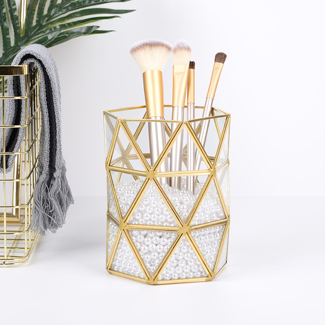 Br Gl Make Up Brush Holder Cup Irregular Makeup Organizer Countertop Pen For Vanity Storage Pencil