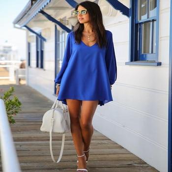 Summer Dress 2018 casual Plus Size Women Clothing Long sleeve solid color Chiffon V Dress Vestidos Beach Dress Loose neck dress 4