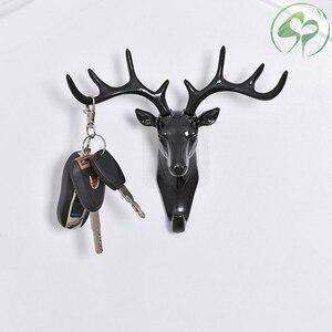 Image 2 - Wand Haken Schlüssel Rack Deer Tier Kopf Geweih Home Hängende Kleidung Hut Schal Haken Hause Wohnzimmer Dekor