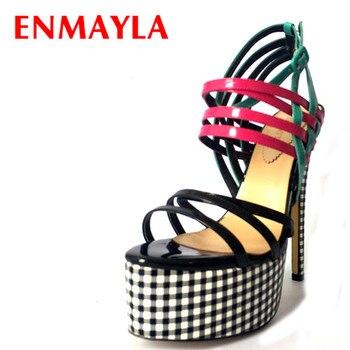 ENMAYLA Summer High Heels Platform Gladiator Sandals Women Plaid Print Ladies Shoes Woman Mixed Colors Stiletto Sandals