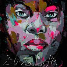 Palette knife painting portrait Palette knife Face Oil painting Impasto figure on canvas Hand painted Francoise Nielly 08
