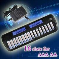 OEM 16 слотов ЖК дисплей Дисплей Smart Батарея Зарядное устройство для AA/AAA NiCd NiMH Аккумуляторы и США Plug или других переходник
