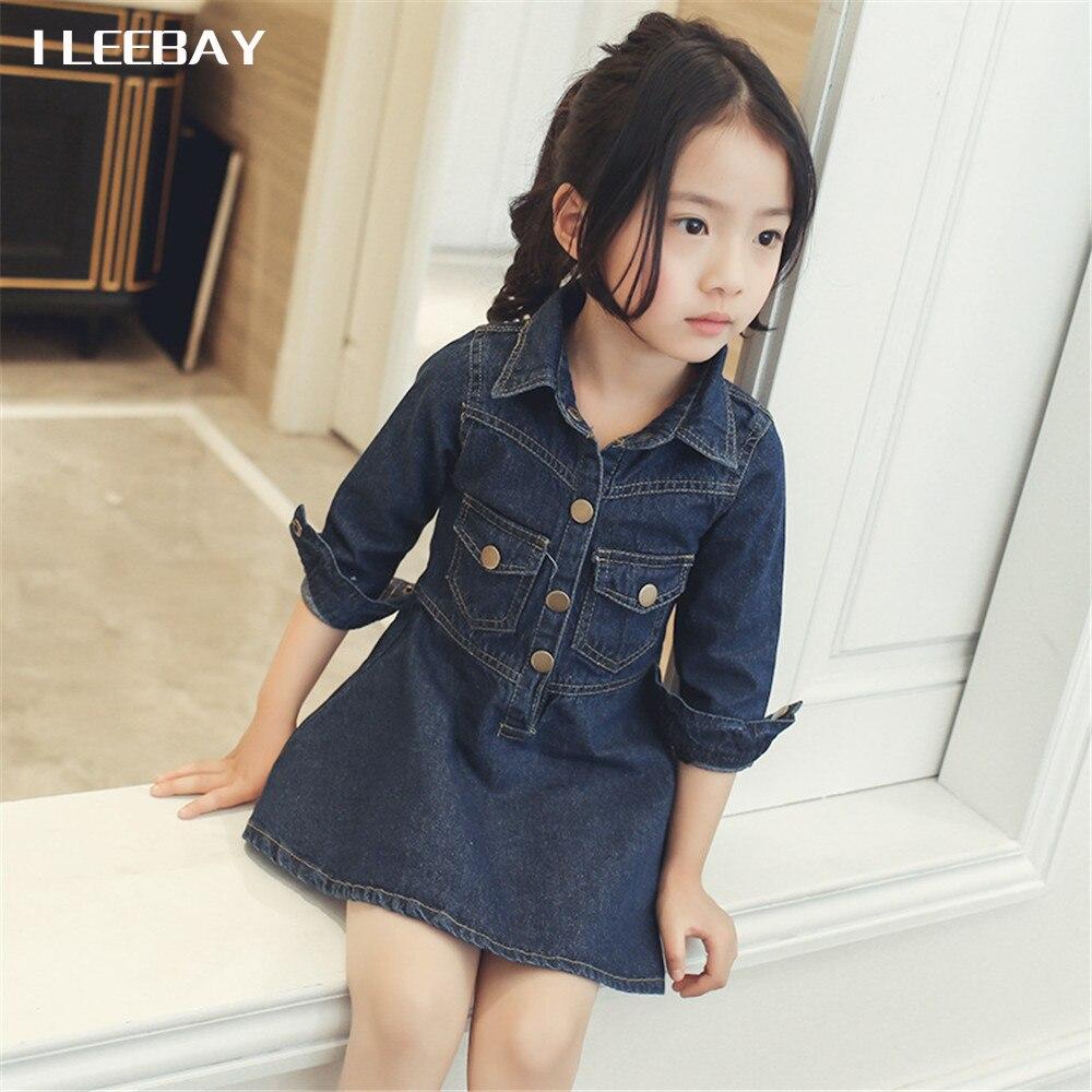 Autumn Girls Denim Mini Dress Fashion Kids Long Sleeve Solid Blouse Dresses Children Cute Cotton Party Clothes Princess Vestidos